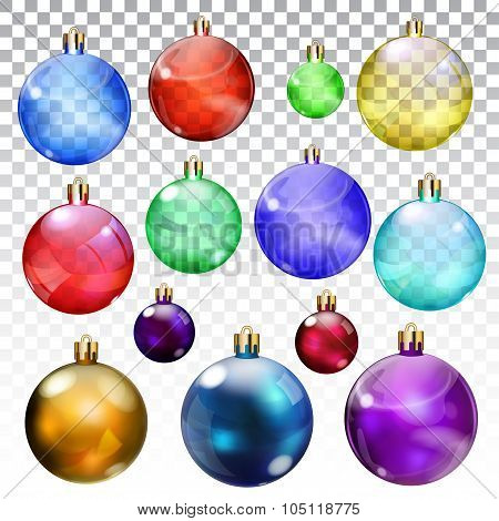 Set of transparent and opaque Christmas balls in various colors and sizes poster