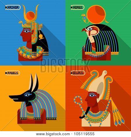 Egyptian Gods. Hathor, Horus, Anubis, Osiris.