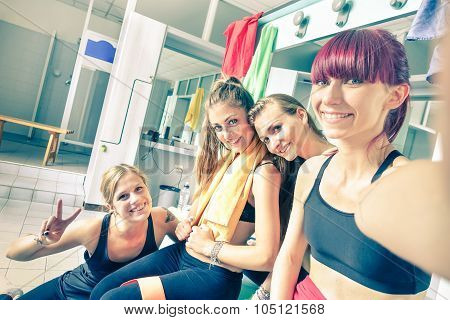 Happy Girlfriends Group Taking Selfie In Gym Dressing Room - Sporty Female Friends Ready For Fitness