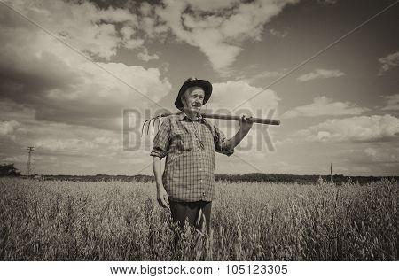 Old Man In Oat Field