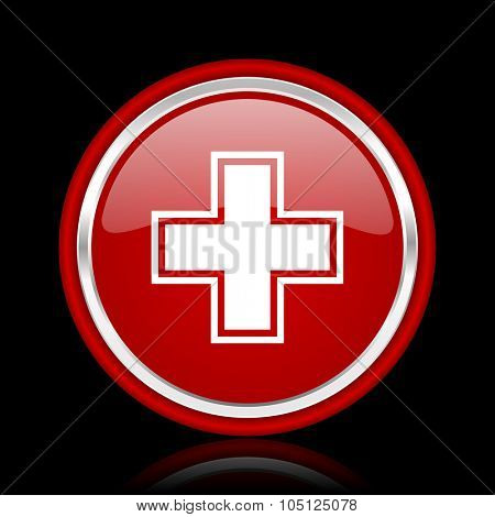 pharmacy red glossy cirle web icon on black bacground