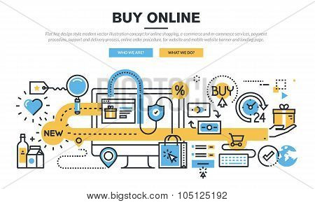 Flat line design concept for online shopping