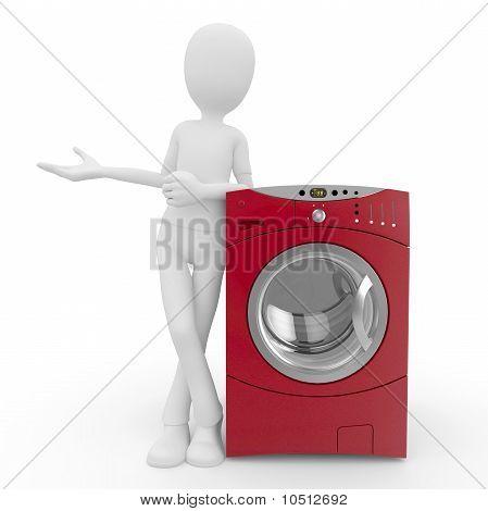 3D Man With Washing Machine