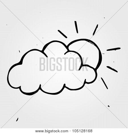 Hand Drawn Wheather, Sun With Cloud