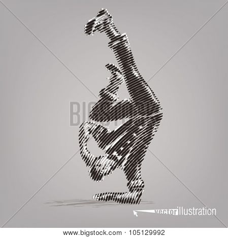 Young male dancer stands on a hand. Vector artwork in the style of ink drawing