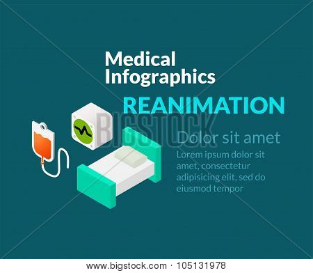 Medical healthcare infographic set with isometric flat icons, reanimation concept