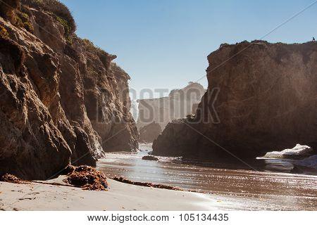 Panoramic view of nice colorful huge cliff and sea. El Matador State Beach, Malibu, California.