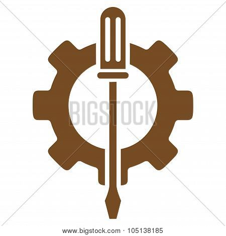 Tuning Options vector icon. Style is flat symbol, brown color, rounded angles, white background. poster