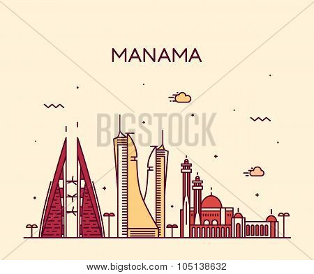 Manama skyline detailed silhouette Trendy vector illustration linear style poster