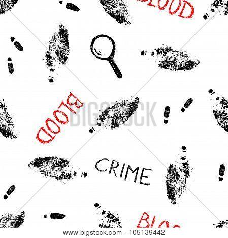 crime pattern with trails and fingerprints, vector illustration