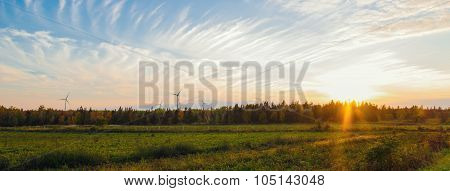 Panorama Of Pei Rural Scene At Fall With Windmills On The Background