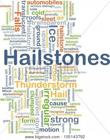 Background concept wordcloud illustration of hailstones