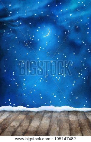 Winter Night Painting Background