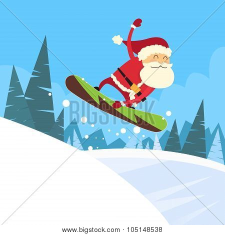 Santa Clause Snowboarder Sliding Down Hill