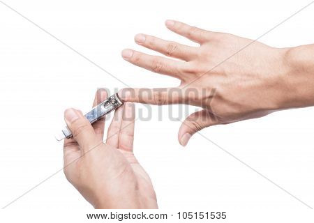 Close Up Of Fingernail Cutting Isolated