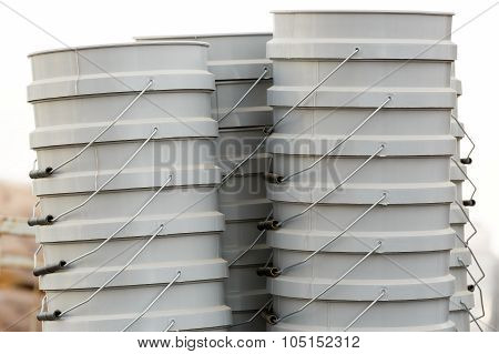 Four Stack Of Buckets