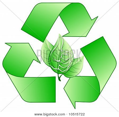Recycling logo with stylized hand on center poster