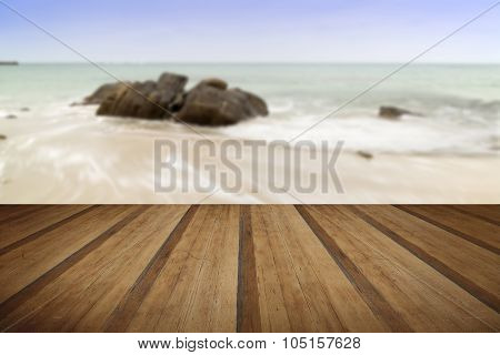 Sennen Cove Beach Before Sunset In Cornwall England With Wooden Planks Floor