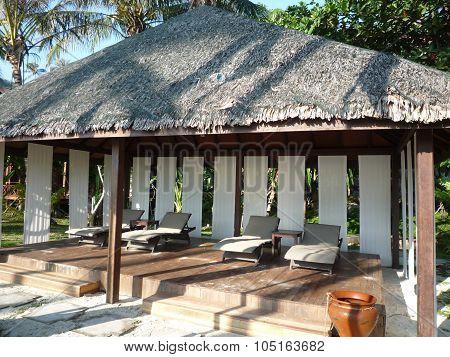 Beach chairs and cabana