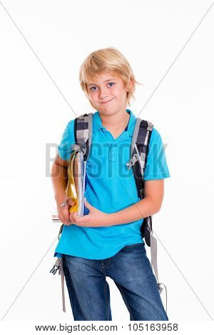 Blond Boy With Satchel And Books