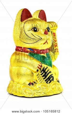 Chinese Lucky Cat close up of asian symbol on white background poster
