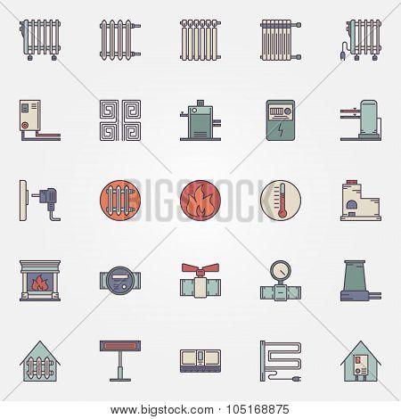 Heating flat icons