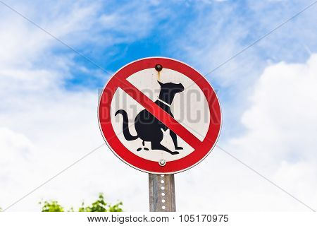 no dog excrements sign at a front yard