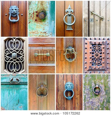 Collection Of 12 Ancient Doorknobs