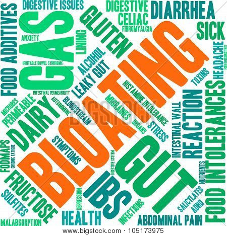Bloating word cloud on a white background. poster