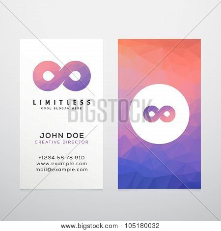 Abstract Vector Limitless Infinity Symbol, Icon or a Logo with Business Card Template Mock-up. Stily