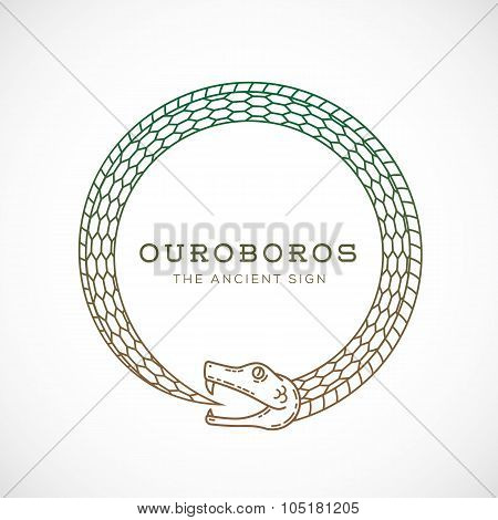 Abstract Vector Ouroboros Snake Symbol, Sign or a Logo Template in Line Style. Isolated