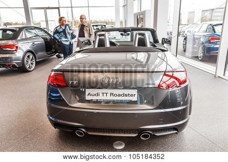 Baden-Baden, Germany - October 10, 2015: New models of the brand Audi in a dealer's showroom in Baden-Baden, Germany. Audi TT ROADSTER