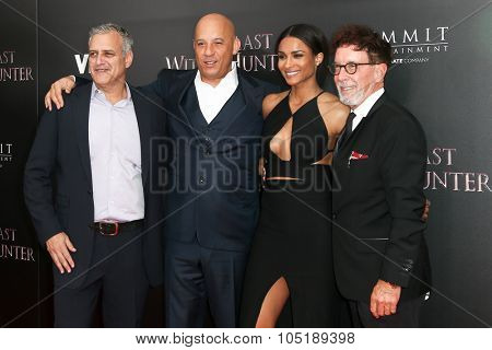 NEW YORK-OCT 13: (L-R) Producer Bernie Goldmann, Vin Diesel, Ciara and Mark Canton attend 'The Last Witch Hunter' New York premiere at AMC Loews Lincoln Square on October 13, 2015 in New York City.