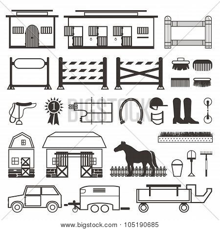 Horse Riding set in black and white.
