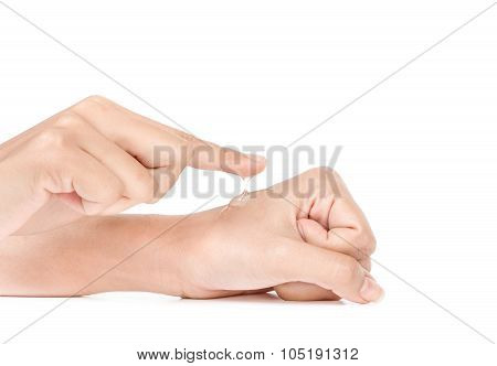 hand in action apply cream to skin and isolated on white background