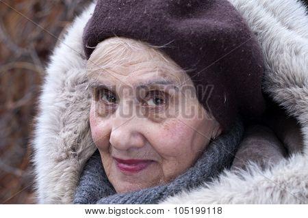 Senior In Fur Hood