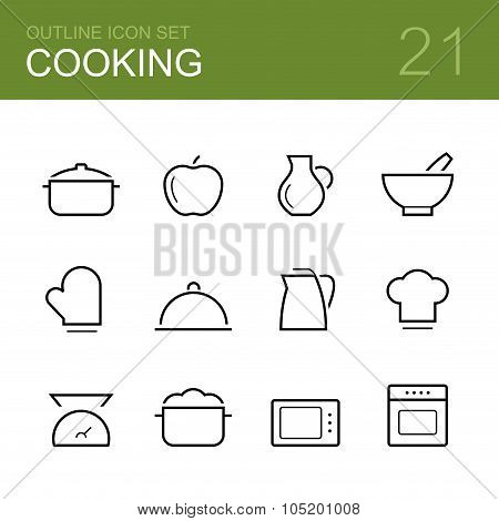 Cooking vector outline icon set