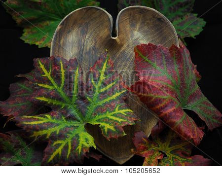 Heart Shaped Wooden Bowl with Colourful Grapevine Leaves