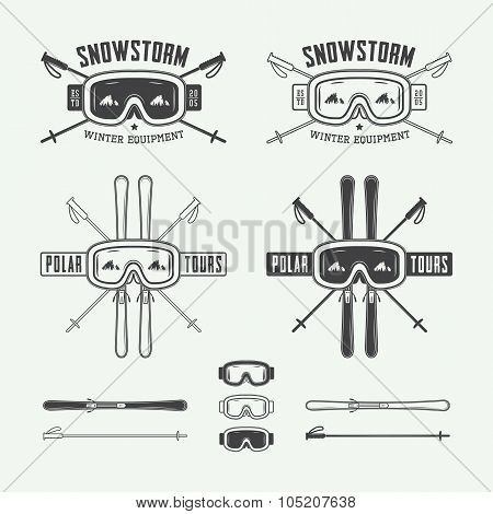Vintage Ski And Arctic Expeditions Logos, Badges, Emblems And Design Elements.