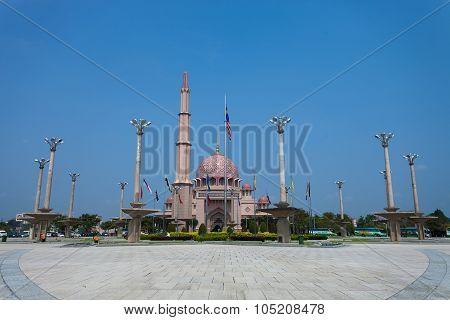 Putra Mosque, Putrajaya, Malaysia against clear afternoon sky