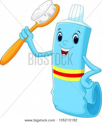 Vector illustration of Toothbrush and toothpaste cartoon poster