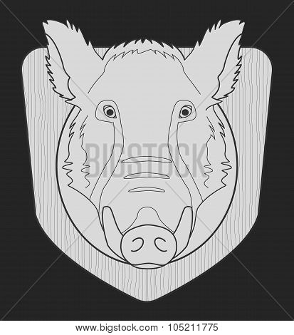 Boar head in laurel wreath. Chalk