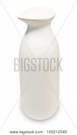 White And Ceramic Japanese Traditional Sake Bottle