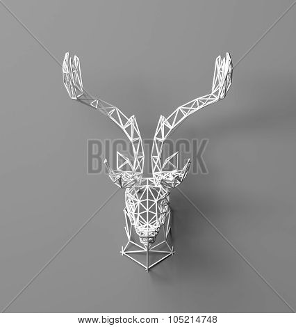 Artificial deer head hanging on the wall . 3D Rendering. Polygonal head of a deer. Deer from the three-dimensional grid. The object of art on the wall. Volume model. Meshwork