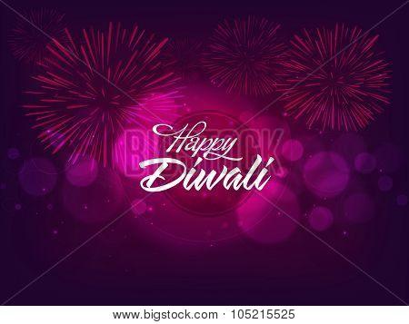 Indian Festival of Lights, Happy Diwali celebration with glossy fireworks on shiny purple background.