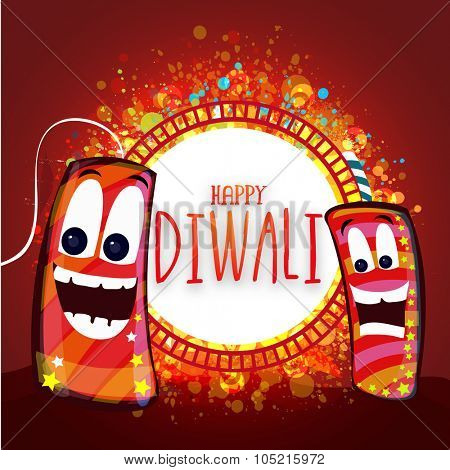 Creative illustration of firecrackers with funny faces on stylish background for Indian Festival of Lights, Happy Diwali celebration.