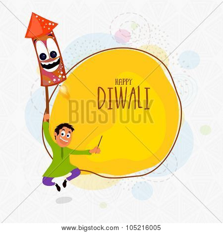 Cute boy flying with funny firecracker for Indian Festival of Lights, Happy Diwali celebration.
