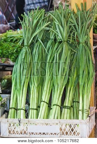 Fresh Organic Leeks At A Street Market