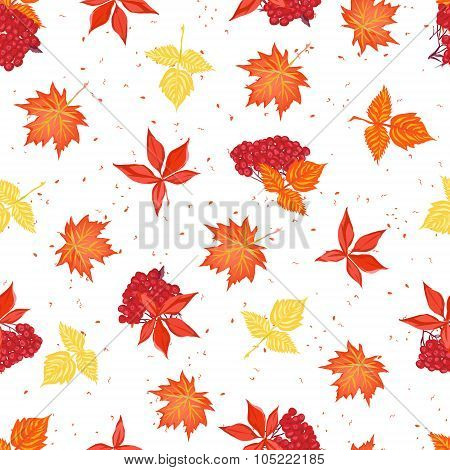 Autumn Leaves And Ashberry Seamless Vector Pattern