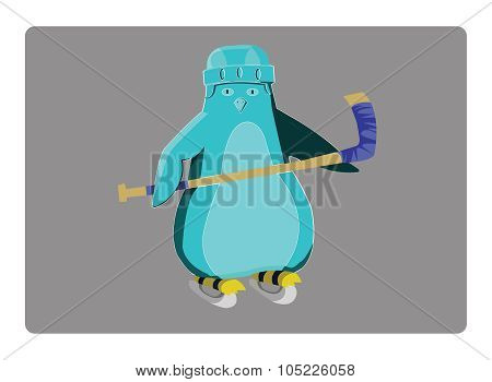 Hockey Penguin Sportswear Illustration. Helmet with Hockey-stick and Racing Skates. Sports Symbol or Emblem Design. Hockey Game Accessories Digital Vector Illustration. poster